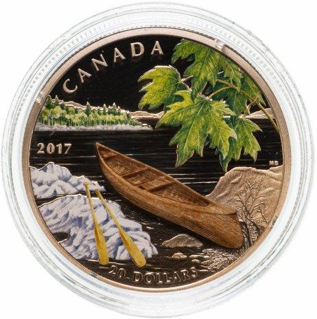 """купить Канада 20 долларов 2017 """"Каноэ"""",  в футляре, с сертификатом"""