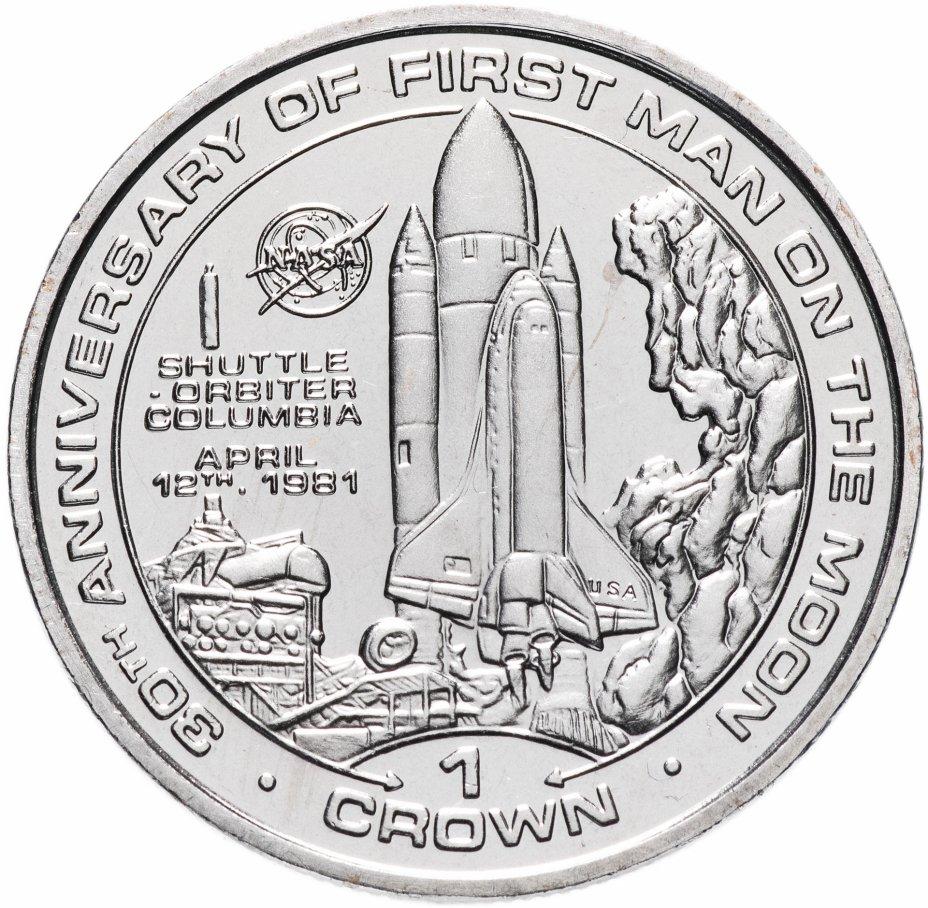 купить Остров Мэн 1 крона (crown) 1999 30 лет первому человеку на Луне