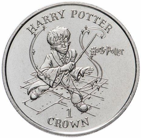 """купить Остров Мэн 1 крона (crown) 2001 """"Гарри Поттер с волшебной палочкой"""""""