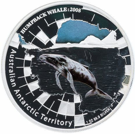 """купить Австралия 1 доллар 2008  """"Австралийская Антарктическая территория. Горбатый кит"""""""