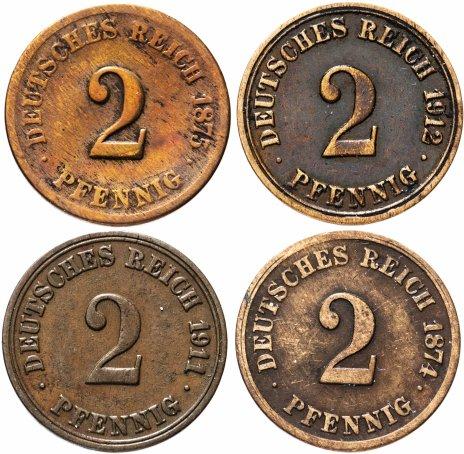 купить Германия (Германская империя) 2 пфеннига 1874-1912 набор из 4 монет