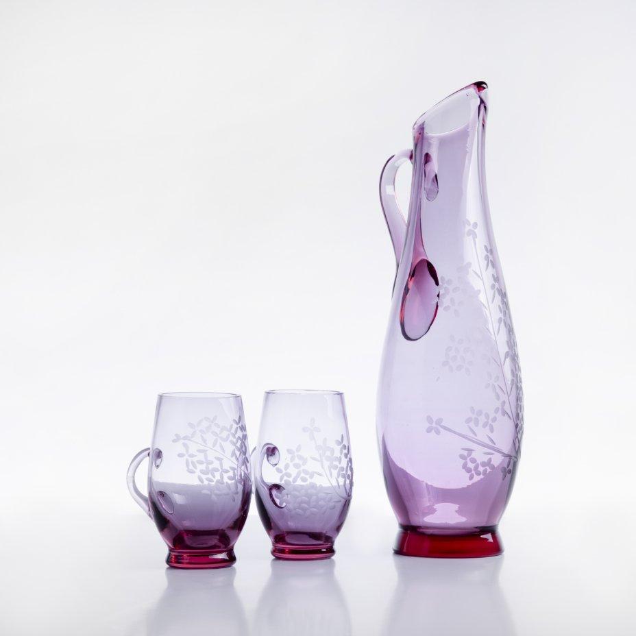 купить Набор из кувшина и двух стаканов, марганцевое стекло, алмазная грань, Чехословакия, 1970-1990 гг.