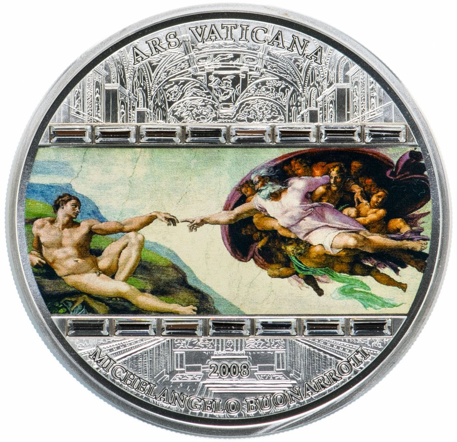 """купить Острова Кука 20 долларов 2008 Unc """"Микеланджело. Шедевры мирового искусства: Сотворение Адама"""" в футляре с сертификатом"""