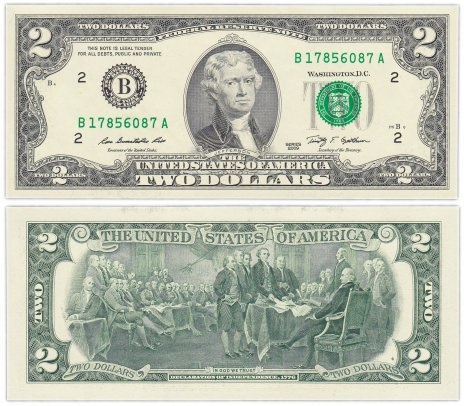 купить США 2 доллара 2009 (Pick 530a) B-Нью Йорк
