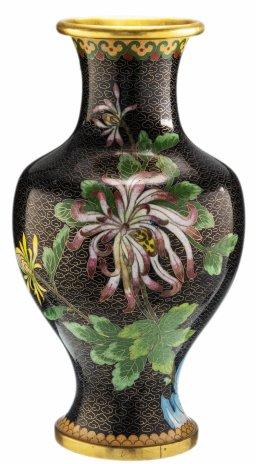 """купить Ваза """"Цветение сливы"""" в технике клуазоне, латунь, эмаль, Китай, 1950-1970 гг."""
