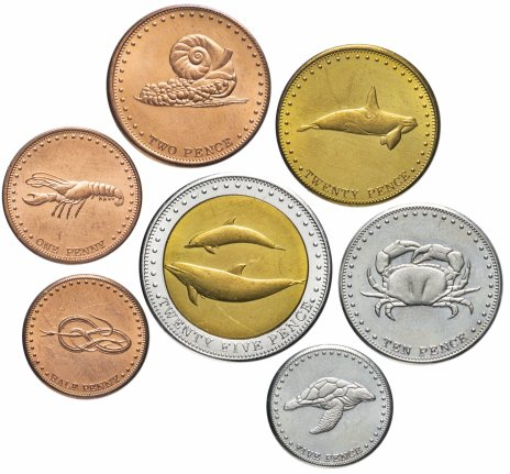 купить Тристан-да-кунья набор из 7 жетонов 2008