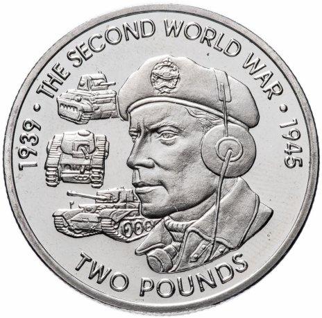 """купить Британская Территория Индийского океана 2 фунта 2019 """"Вторая мировая война-Сухопутные войска"""""""