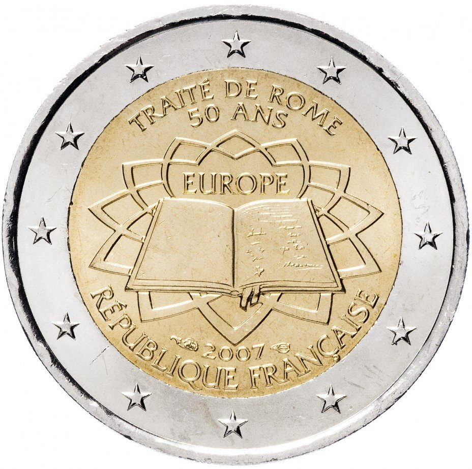"""купить Франция 2 евро 2007 """"50 лет Римскому договору"""""""