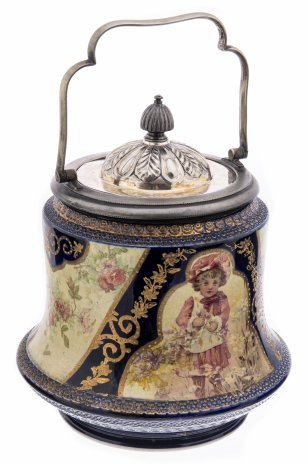 купить Бисквитница с изображением цветов и детей, фаянс, металл, фирма W. Wood&Co,  Англия, 1897 г.
