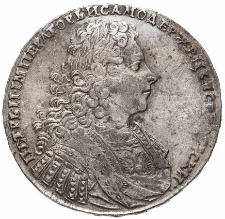 купить 1 рубль 1728   тип 1728 года, с двумя лентами в волосах, голова не разделяет надпись, со звездой на груди