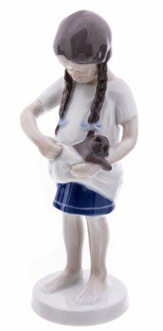 """купить Статуэтка """"Девочка с котенком"""", фарфор, роспись, мануфактура """"Bing & Gröndahl"""", Дания, 1962-1970 гг."""