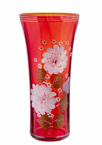 купить Ваза для цветов с цветочным декором, роспись, золочение, красное стекло, СССР, 1970-1990 гг.