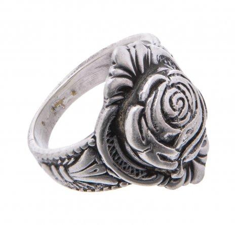 купить Кольцо с рельефным декором в виде розы, серебро 875 пр., СССР, 1960-1980 гг.