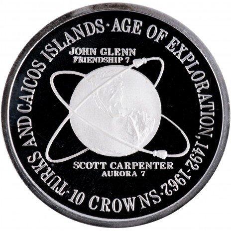 """купить Теркс и Кайкос  10 крон 1975 """"ервый орбитальный полет Джона Гленна и второй, совершенный Скоттом Карпентером"""""""