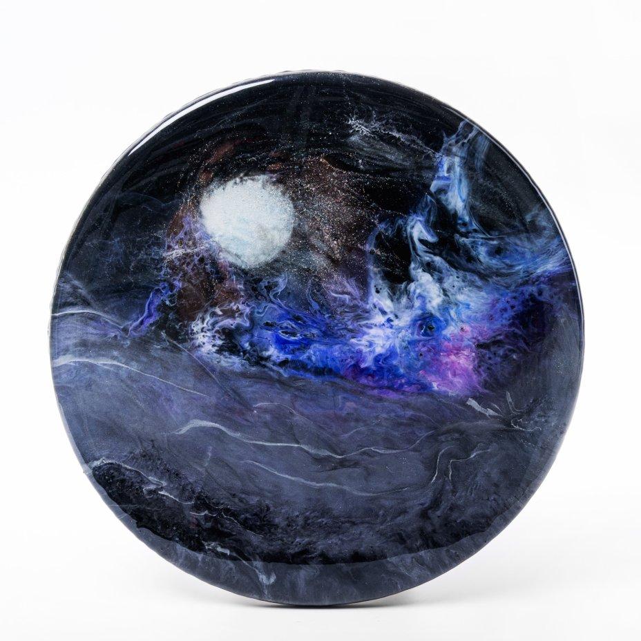 """купить Панно настенное декоративное """"Полнолуние"""", авторская работа в технике Resin Art, глянцевое 3D покрытие, натуральный камень, Россия, 2021 г."""