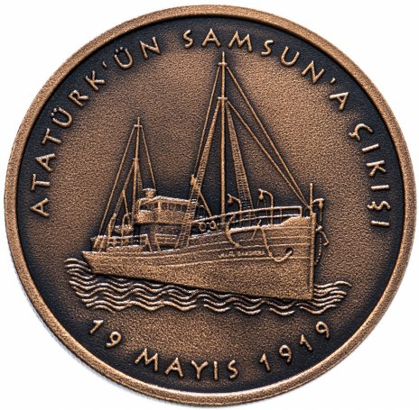 купить Турция 2,5 лиры 2019 год  ( 100 лет отплытия Ататюрка в Самсун) Сертификат