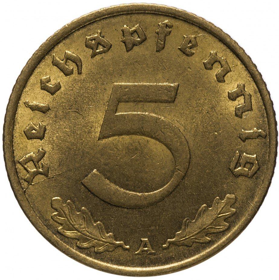 """купить 5 рейх пфеннигов 1937 """"A"""" ( с блеском)"""