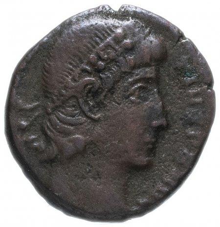 купить Римская Империя Констанций II 324–361 гг фракция фоллиса (реверс: два воина стоят лицом друг к другу, между ними один штандарт)
