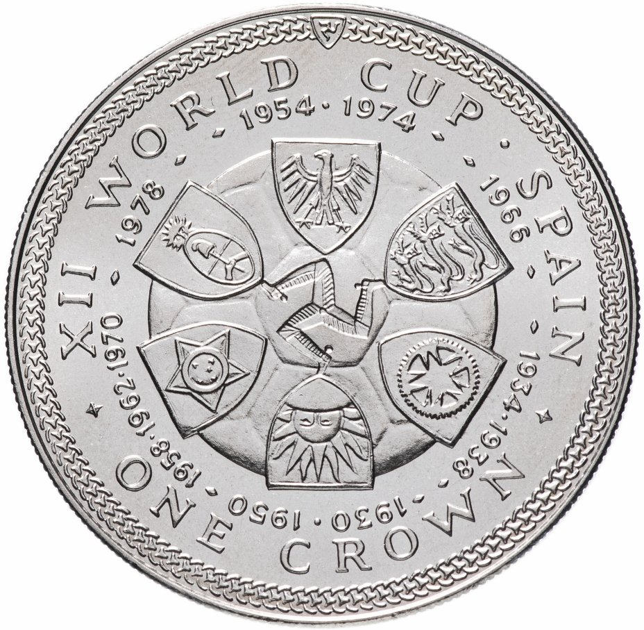 """купить Остров Мэн 1 крона (crown) 1982 """"Чемпионат мира по футболу 1982, Испания - гербы"""""""