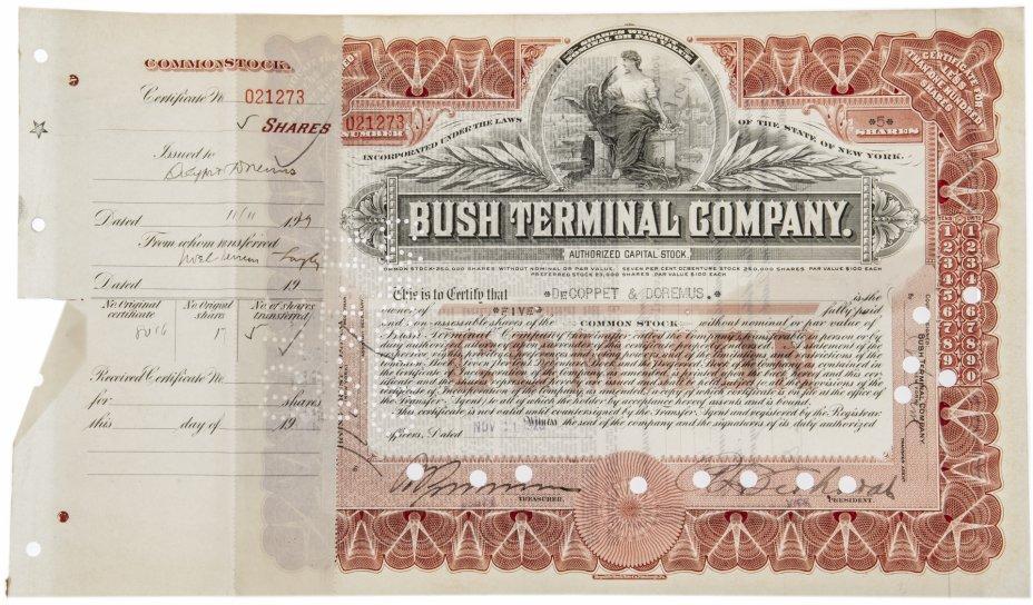 купить Акция США BUSH TERMINAL COMPANY ( с  ордером на покупку) ., 1929 г.