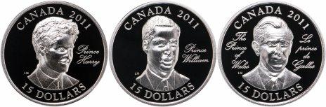 """купить Канада 15 долларов 2011 набор из 3-х монет """"3 принца Уэльских"""", в коробке с сертификатом Редкость"""