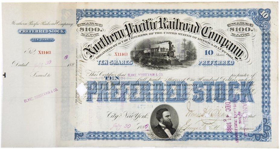 купить Акция США  Northern Pacific Railroad Company ( С ордером на покупку), 1886- 1888 гг.
