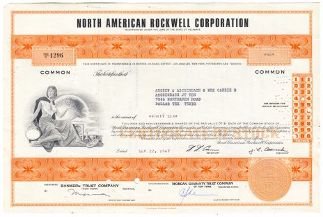 Купить Акция США - North American Rockwell Corporation  1967 г.