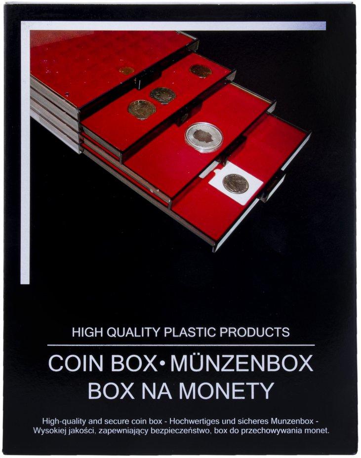 купить Бокс красный для монет диаметром 30 мм, 48 ячеек