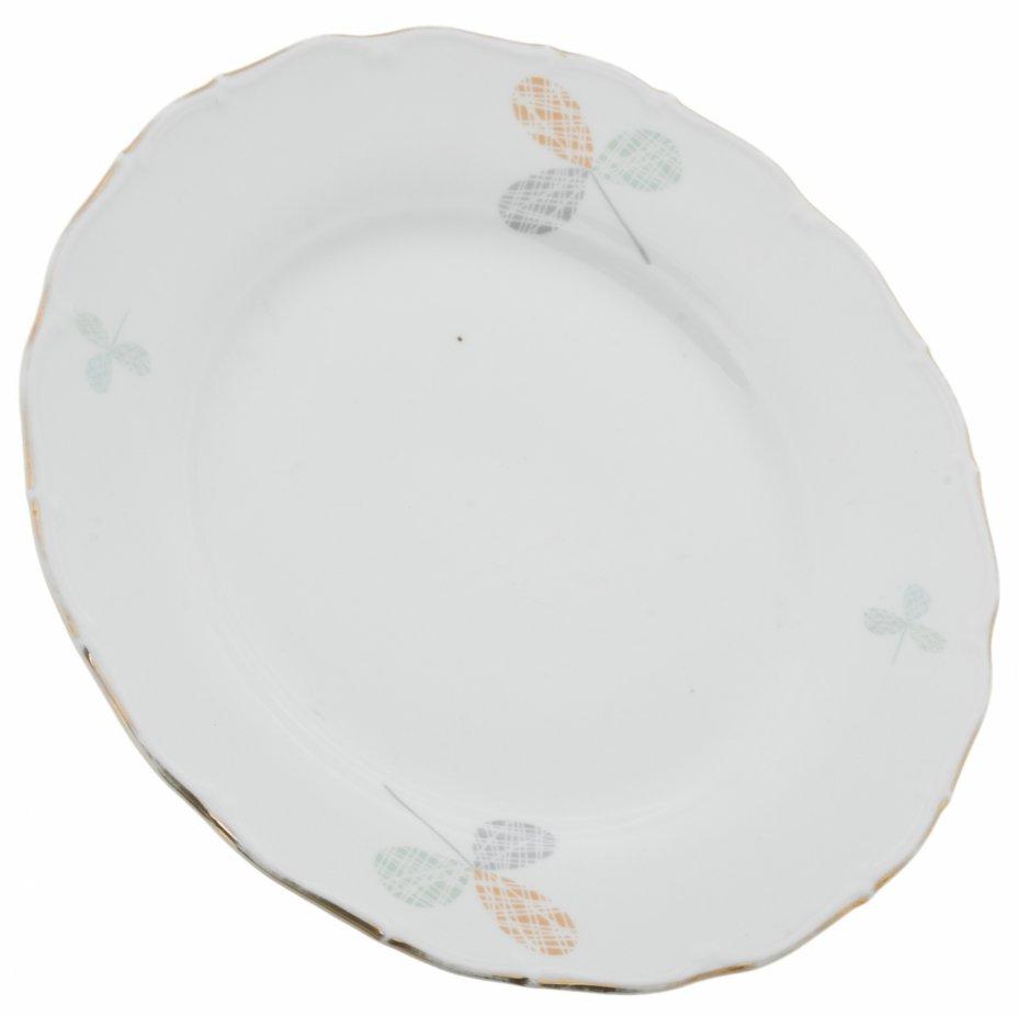 купить Обеденная тарелка с растительным декором, фарфор, золочение, мануфактура Haas & Czjzek, Чехия, 1945-1992 гг.