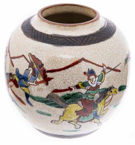 купить Ваза с изображением эпической сцены, фарфор, цветная эмаль, роспись, Япония, 1960-1990 гг.