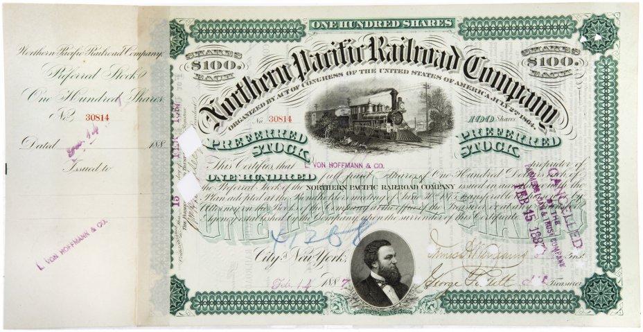 купить Акция США  Northern Pacific Railroad Company ( С ордером на покупку), 1887 г.