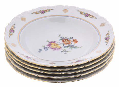 """купить Набор из 5 суповых тарелок с рельефным бортом и цветочным декором, фарфор, деколь, мануфактура """"Kahla"""", Германия, 1970-1990 гг."""