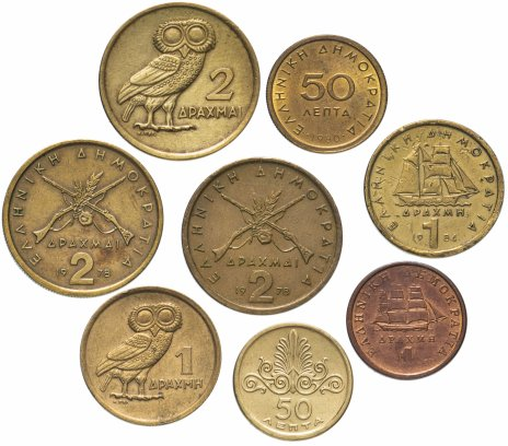 купить Греция набор из 8 монет 1973-1988