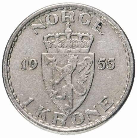 купить Норвегия 1 крона (krone) 1951-1957, случайная дата