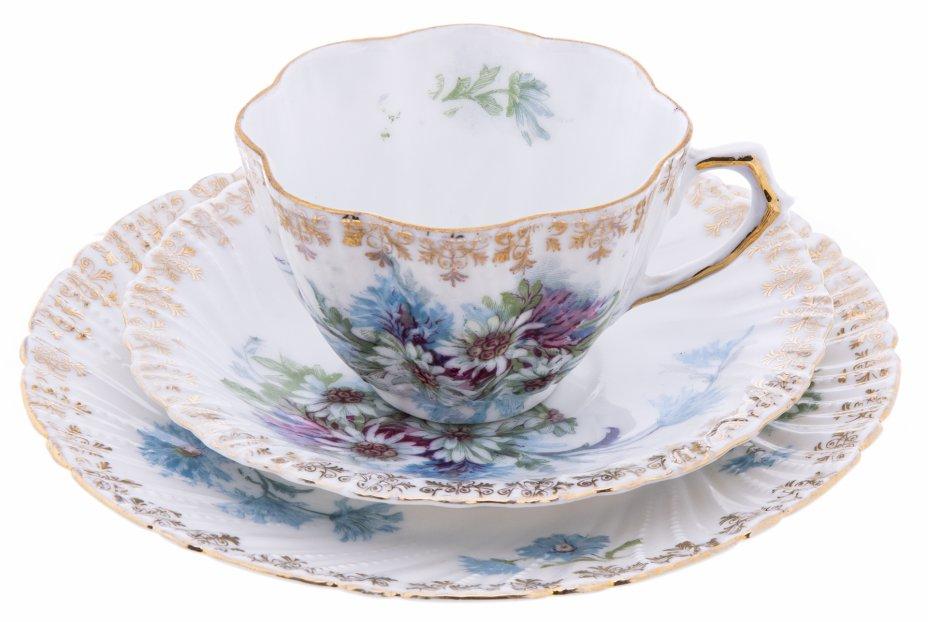 """купить Трио чайное с богато декорированным рельефным бортом и изображением цветов, фарфор, деколь, мануфактура """"Worcester Porcelains """", Англия, 1890-1900 гг."""