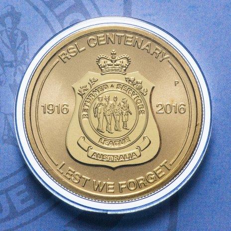 """купить Австралия 1 доллар 2016 """"100 лет RSL"""" (в конверте, с маркой)"""