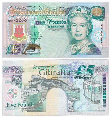 купить Гибралтар 5 фунтов 2000 (Pick 29) Миллениум  Красивый номер 442288
