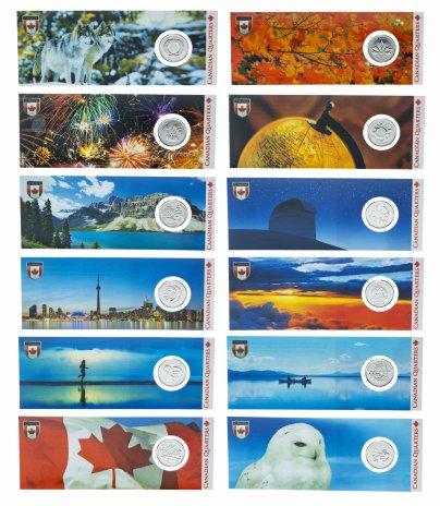 """купить Канада набор из 12 монет 25 центов 2000 серия """"Миллениум"""" в блистерах"""
