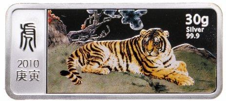 """купить Либерия 10 долларов 2010 Proof """"Год тигра"""" в футляре, на подставке с сертификатом"""