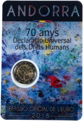 """купить Андорра 2 евро 2018 """"70 лет Всеобщей декларации прав человека"""" в буклете"""