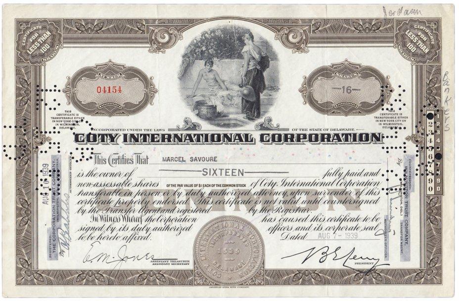 купить Акция США COTY INTERNATIONAL CORPORATION  1939- 1940 гг.
