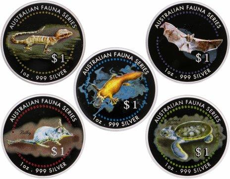 """купить Острова Кука 1 доллар набор из 5-ти монет 1998 """"Австралийская фауна"""" в футляре, с сертификатом"""