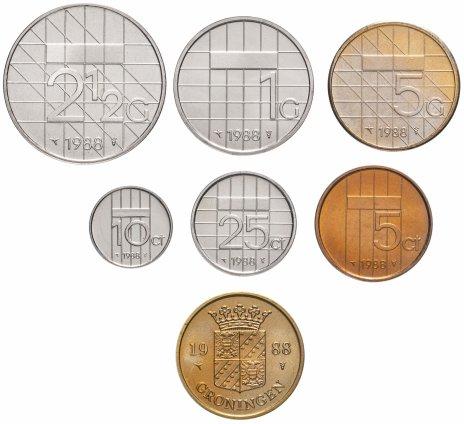 купить Нидерланды набор монет 1988 (6 монет+жетон)