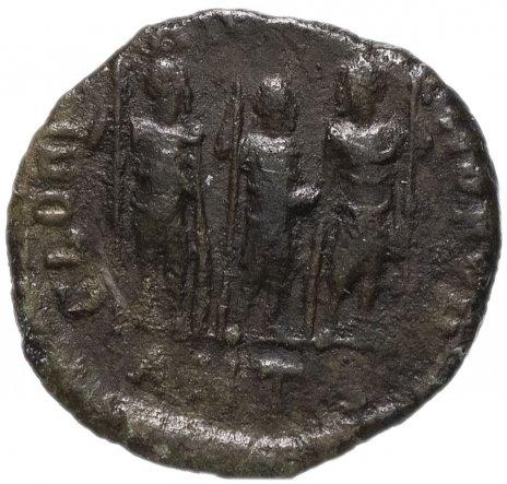 купить Римская Империя Феодосий II 408-450 гг 4 или 5 денариев (реверс: три легионера или императора стоят с копьями)
