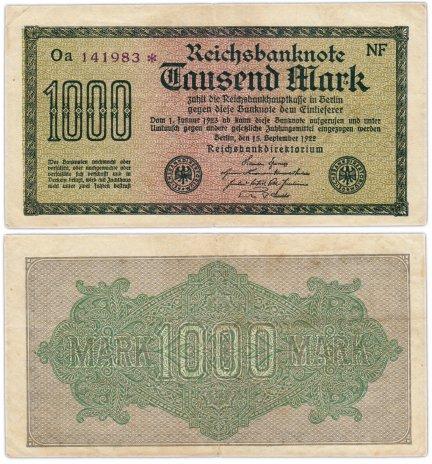 купить Германия 1000 марок 1922 Pick 76d(6)