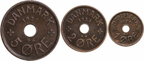 купить Дания, набор из 3 монет 1928-1929