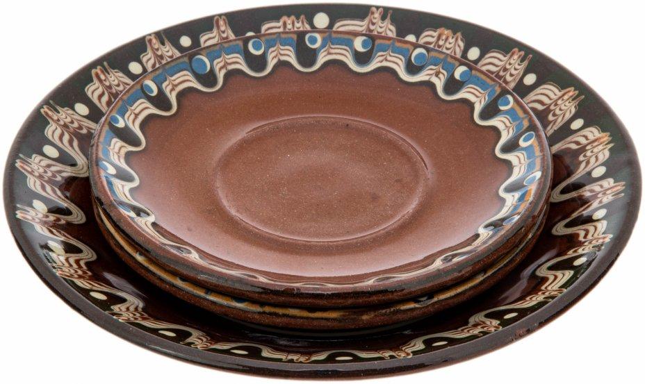 купить Набор из тарелки и двух блюдец декорированных цветными глазурями, обливная керамика, Россия, 1991-2015 гг.