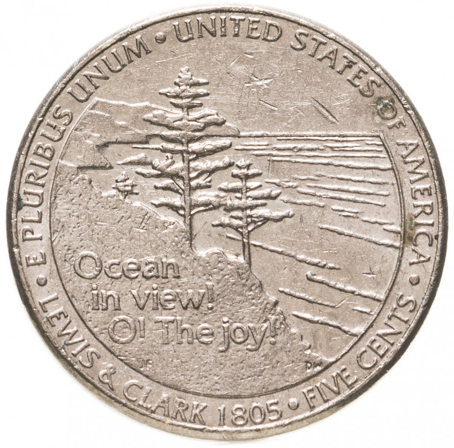 """купить США 5 центов 2005 """"200 лет экспедиции Льюиса и Кларка - Выход к океану"""""""