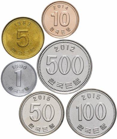 купить Южная Корея набор монет 1968-2015 (6 штук, VF-XF, 1 вон VF-UNC)