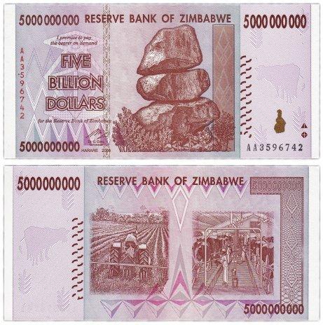 купить Зимбабве 5000000000 долларов 2008 год (Pick 84)